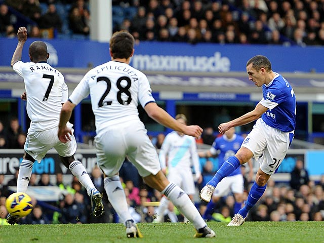 Leon Osman has a shot on goal during the match against Chelsea on December 30, 2012