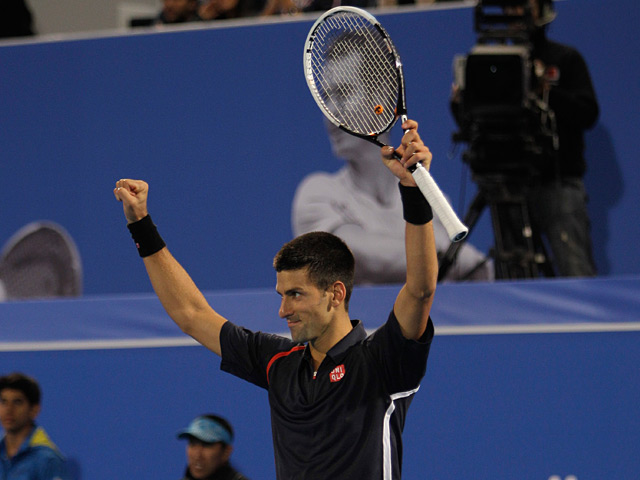 Novak Djokovic moments after winning the World Tennis Championship in Abu Dhabi on December 29, 2012