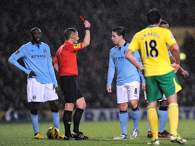 Samir Nasri is shown the red card on December 29, 2012