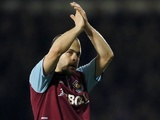 West Ham's Joe Cole applauds the fans on his return against Man Utd on January 5, 2013