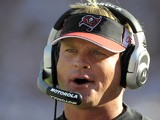 Coach Jon Gruden of the Tampa Bay Buccaneers directs play against the Oakland Raiders at Raymond James Stadium on December 28, 2008