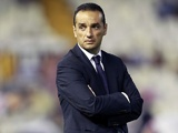 Deportivo coach Jose Luis Oltra on the touchline against Valencia on August 26, 2012
