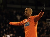 Blackpool's Ludovic Sylvestre celebrates his opener against Fulham on January 5, 2013