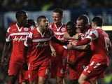 QPR players celebrate the goal of Shaun Wright-Phillips against Chelsea on January 2, 2013