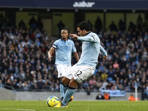 City striker Carlos Tevez fires in the opener against Watford on January 5, 2013