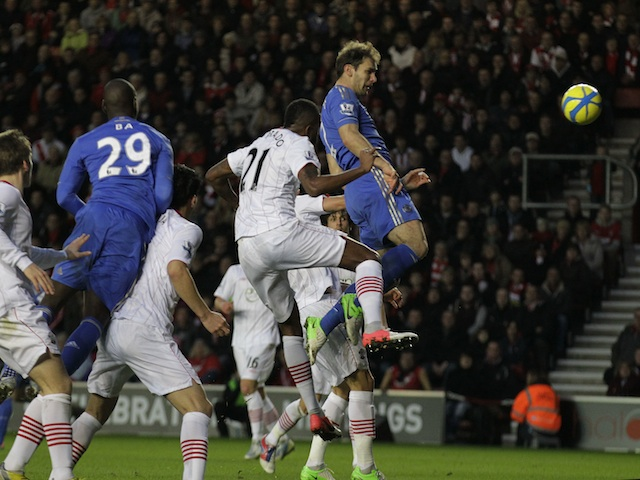 Chelsea defender Branislav Ivanovic jumps highest to score the third goal against Southampton on January 5, 2013