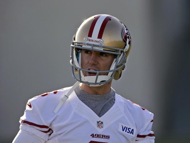 San Fran kicker David Akers during practice on January 3, 2013