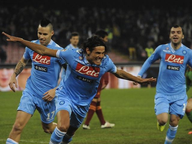 Napoli striker Edinson Cavani celebrates a goal against Roma on January 6, 2013