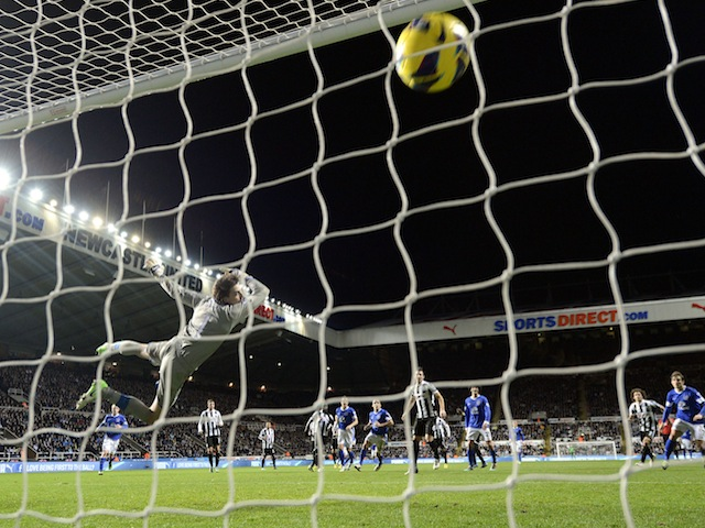 Everton left-back Leighton Baines slams in a free-kick against Newcastle on January 2, 2013