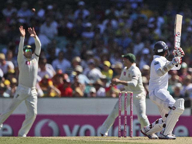Australia's Michael Clarke catches a ball from Sri Lanka's Lahiru Thirimanne on January 3, 2013