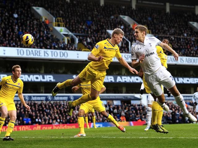 Spurs defender Michael Dawson scores the equaliser against Reading on January 1, 2013