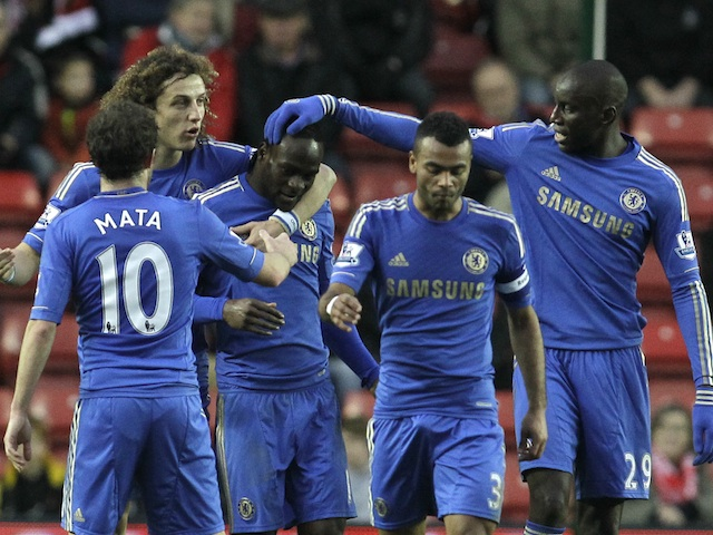 Chelsea players congratulate Victor Moses, following his strike against Southampton on January 5, 2013