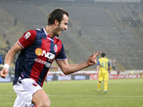 Bologna's Alberto Gilardino celebrates after scoring his team's second goal against Chievo Verona on January 12, 2013