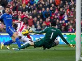 Kenwyne Jones attempt on goal is saved by Petr Cech on January 12, 2013