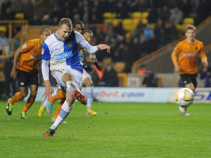 Jordan Rhodes scores from a penalty for Blackburn Rovers in their match against Wolverhampton Wanderers on 11 January, 2013
