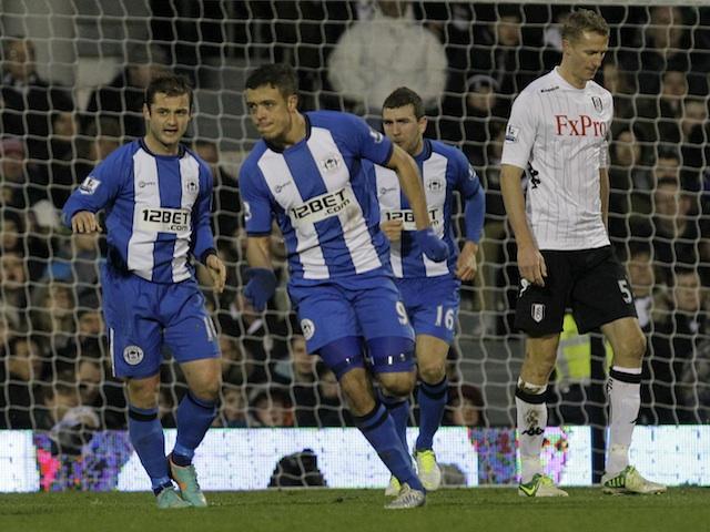 Wigan striker Franco Di Santo celebrates his equaliser at Fulham on January 12, 2013