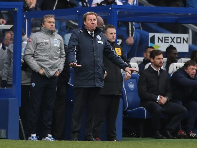 R's boss Harry Redknapp on the touchline during the game with his old team Spurs on January 12, 2013