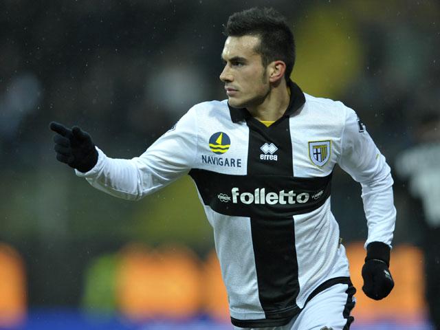 Parma forward Nicola Sansone celebrates scoring a goal in his sides Serie A match versus Juventus on January 13, 2013