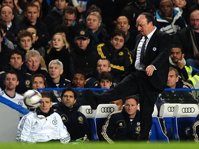 Chelsea manager Rafa Benitez kicks the ball away against Swansea on January 9, 2013