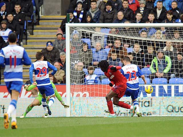 Romelu Lukaku slots home the opener against Reading on January 12, 2013