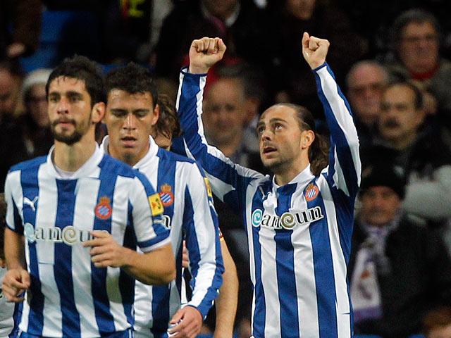 Espanyol's Sergio Garcia celebrates his goal on December 16, 2012