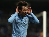 Man City's David Silva celebrates his second goal against Fulham on January 19, 2013