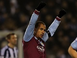 Villa forward Gabby Agbonlahor celebrates his goal against West Brom on January 19, 2013