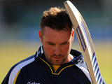 Durham's Ian Blackwell after being caught and bowled out on May 2, 2011