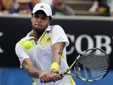 Jo-Wilfried Tsonga in action in the second round at the Australian Open on January 17, 2013