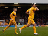 Motherwell's Michael Higdon celebrates his first against St Johnstone on January 20, 2013