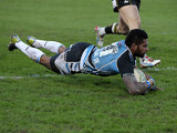Glasgow Warriors' Niko Matawalu scores a try against Northampton Saints in the Heineken Cup on January 19, 2013