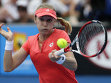 Russia's Ekaterina Makarova hits a forehand return during her third round encounter with Marion Bartoli at the Australian Open tennis championship on January 18, 2013