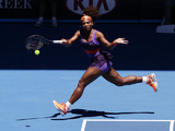 Serena Williams of the US hits a forehand return during her third round match at the Australian Open tennis championship on January 19, 2013