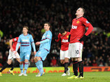 Wayne Rooney moments after missing a penalty during the FA Cup third round replay against West Ham on January 16, 2013