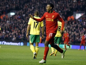 Daniel Sturridge celebrates his first home goal for Liverpool, against Norwich, on January 19, 2013
