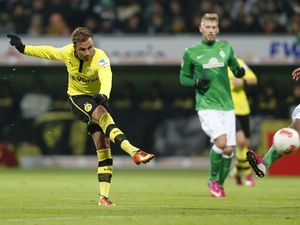 Dortmund's Mario Gotze scores a goal against Werder Bremen on January 19, 2013