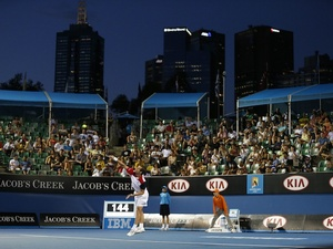 Frenchman Richard Gasquet serves during his second round victory at the Australian Open on January 17, 2013