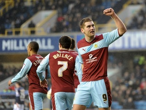 Burnley striker Sam Vokes celebrates a goal versus Millwall on January 19, 2013