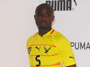 Togo's Serge Akakpo during a kit unveiling on November 7, 2011