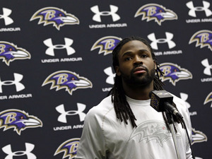 Baltimore Ravens player Torrey Smith speaking at a news conference on January 14, 2013