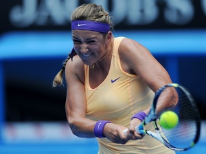 Belarus' Victoria Azarenka in second round action on January 17, 2013