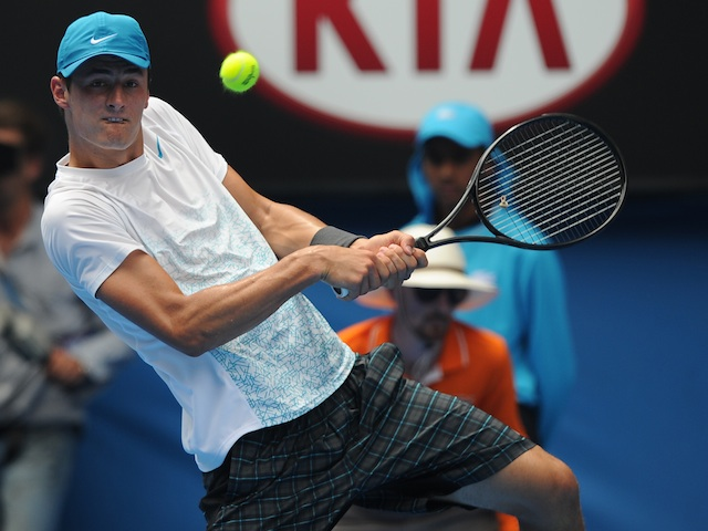 Bernard Tomic in action in the second round of the Australian Open on January 17, 2013