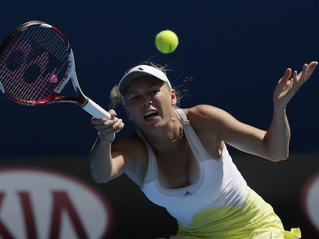 Denmark's Caroline Wozniacki in second round action against Donna Vekic on January 17, 2013