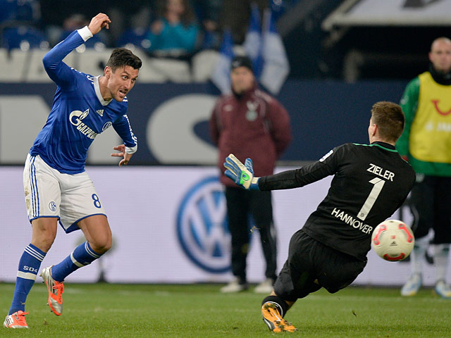 Schalke's Ciprian Marica scores his team's fourth goal against Hannover on January 18, 2013