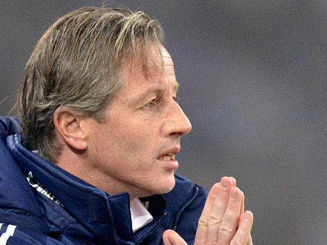 Schalke's head coach Jens Keller during on the touchline during the match against Hannover on January 18, 2013