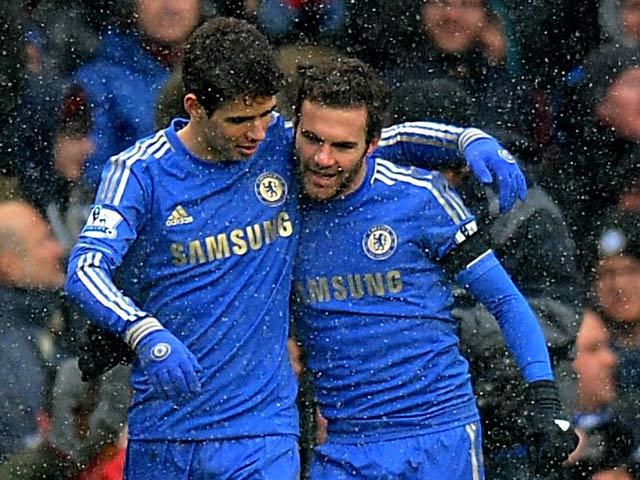 Juan Mata celebrates with team mate Emboaba Oscar after scoring the opening goal against Arsenal on January 20, 2013