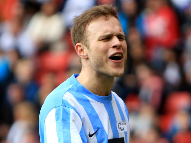 Olly Murs plays for Team The Sun during the Soccer Six football Tournament on May 31, 2010
