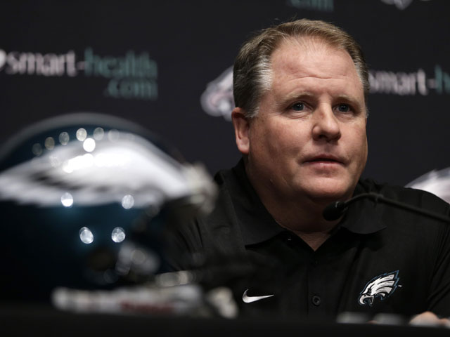 Philadelphia Eagles new head coach Chip Kelly talks during a press conference on January 17, 2013