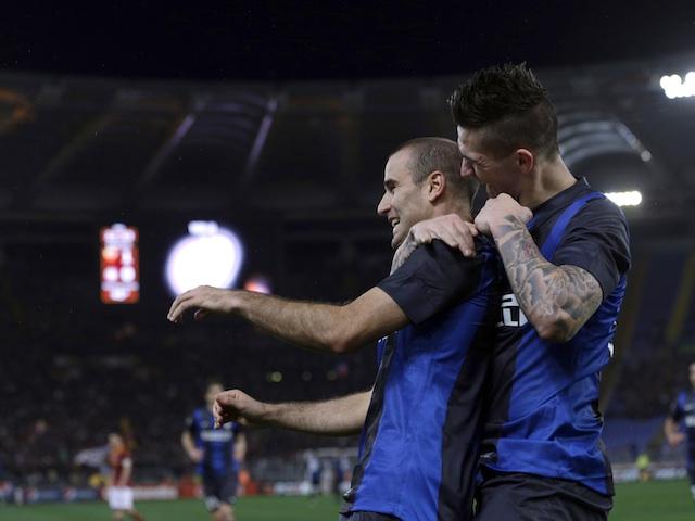 Inter Milan's Rodrigo Palacio celebrates a goal against Roma on January 20, 2013