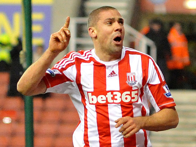 Stoke City player Jon Walters celebrates scoring his sides second goal in their FA Cup third round replay on January 15, 2015